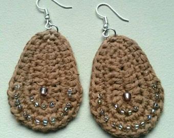 Crocheted dangle leaf earrings. Hand made.