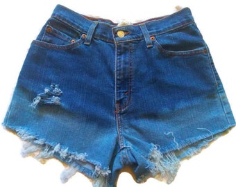 High Waisted Blue Ombre Denim Jean Shorts 6 Upcycled Denim Jean Fray Denim Shorts Custom Distressed High Waisted