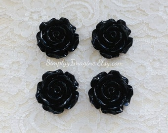 Black Rose Flower Cabochons Resin Flatback Roses Medium Scrapbook Supplies - 4 PCS - 30mm