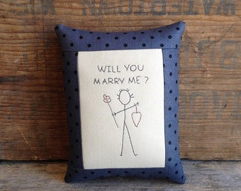 Will You Marry Me Pillow. Marry Me Pillow. Marriage Proposal. Pop The Question. Small Pillow.  Marriage Pillow. Hand Embroidered Pillow.