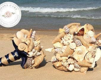 Beach wedding bridal bouquet, Sea shells bridal bouquet, navy blue bouquet, beach wedding bouquet, Beach bridal bouquet