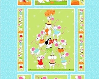"""NORTON the MOUSE ~ 100% Cotton Fabric Quilt Panel ~1 panel ~ 35"""" x 44"""" ~  by Susybee ~ Out of Print"""
