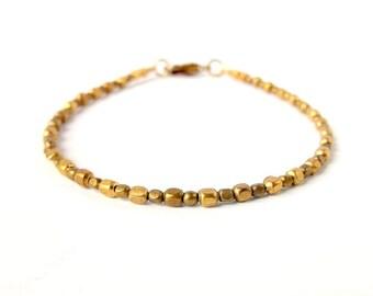 Dainty Bracelet Brass Bead Bracelet - Boho Jewelry Bohemian Jewelry Gypsy Jewelry Ethnic - Simple Minimalist Bracelet Stackable Bracelet