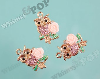1 - Wise Owl Pink Rose Flower Rhinestone Charm, Owl Charm, Pink Owl Pendant, 22mm x 30mm (2-2J)