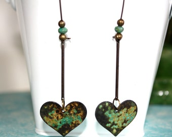Heart Dangle Earrings, Boho Jewelry, Rustic Earrings, Patina Earrings,