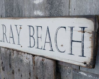 DELRAY BEACH sign on reclaimed pine wood hand-painted rustic Made 2 Order