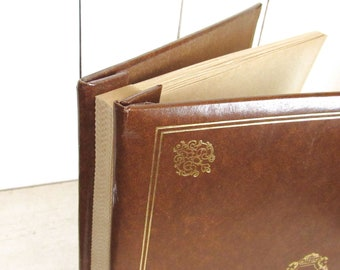70s Photo Album Retro Picture Album Blank Card Stock Pages Vintage Keepsake Book Brown Gold