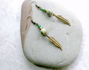 Green Opal feather earrings, brass feather charm earrings, bohemian style jewelry, gifts for women, mothers day gift idea, natural stones