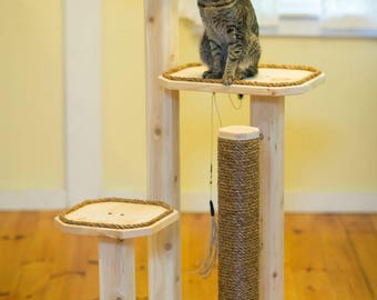 Natural Cat Tree - Solid Wood Cat Tree - Cat Scratching Post - 48 Inch Three Level
