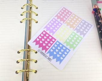 Pastel heart checklist sampler; Filofaxing; Erin Condren; Cute Stickers; Kawaii Stickers; Colour Coding; Planner Sticker