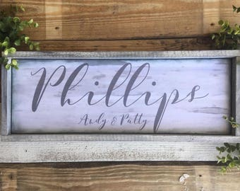 Family Name Sign, Weathered Gray, Last Name, Beach House,  Distressed wood Large Typography, Hand Lettering ,Framed Signs, Wedding Signs,