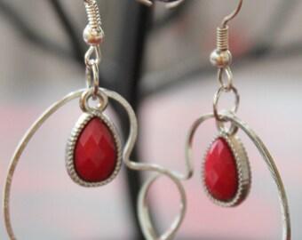 Red Silver Heart Earrings