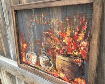 Autumn art, fall decor , outdoor art , window screen,coffee art,friends art Made to order