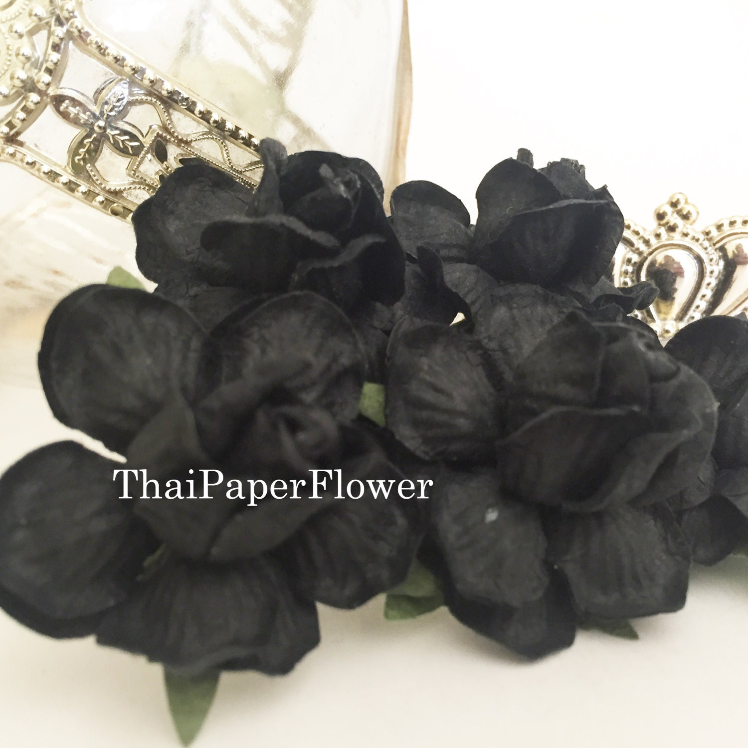 25 Black Large Roses Mulberry Paper Flowers Scrapbook Craft Wedding