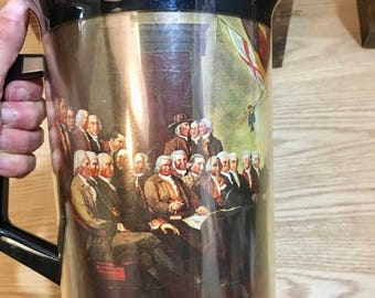 Vintage Declaration of Independence Therma Serve Plastic Pitcher, 1970s, Great White Elephant Gift