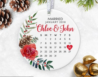 Personalized Wedding Gift First Christmas Ornament Wedding Christmas Ornament Married Wedding Gifts for Couple Wedding Ornament
