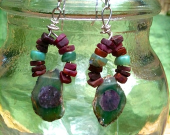 Ruby and Zoisite gemstone slice art earrings with sterling silver, raw ruby and blue opal