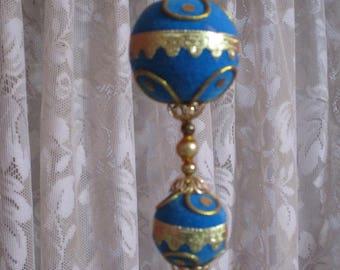 Vintage Retro GORGOUS Beaded Christmas Ornament-Walco-Blue