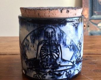 Bleeding Hearts Meditating Skeletons Jar with Cork Lid in Melting Cobalt Glaze