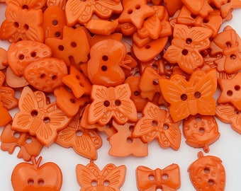 Orange Button Mix  - Mixed Shapes and Sizes - #BUTTON390