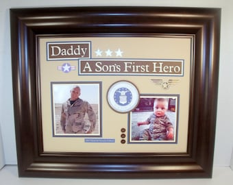 A Son's First Hero - Daughter's First Hero Daddy Keepsake - UNFRAMED INSERT for 11x14 Frame - Military Dad - Army, Navy, Air Force, Marines