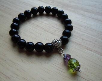Scottish Thistle Bracelet, Black Onyx, Czech Crystal, Scottish Jewelry, Scottish Gift, Scotland Emblem, Birthday Gift, Gift For Her
