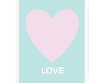 Love Art Poster, Heart Wall Art, Pink Nursery Art, Pastel Baby Art, Art Print for Kids, Girls Room Poster, Girls Nursery Art Print, Love Art