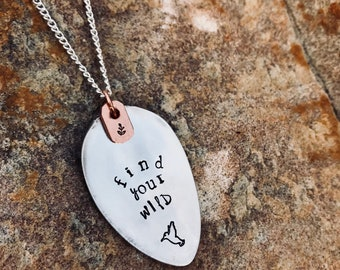 "Find your Wild"" - spoon necklace,baby shower gift, Mother's Day, birthday, silver necklace, custom necklace, stamped spoon, graduation gift"