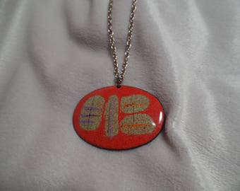 1950's Enameled Pendant with Abstract Design