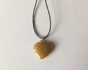 Handmade Yellow Jade Gemstone Heart Necklace Choker