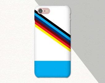 Retro Phone Case, Geometric iPhone Case Striped, iPhone 6 Case, Blue Red Black, iPhone Case Stripes, iPhone 7 Case Blue iPhone 6S Case, SE