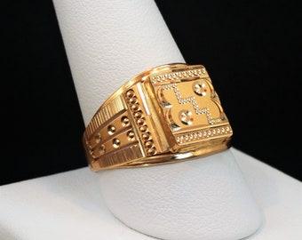 "GOLDSHINE 22K Solid Yellow Gold Men's Ring Size 11 (US/Canada) Genuine & Hallmarked ""916"""