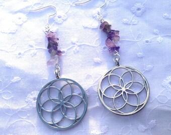 Loop earrings Amethyst flower of life