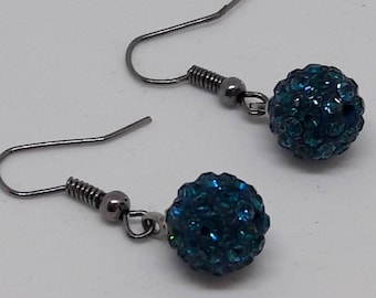 Earrings old silver and teal shamballa bead