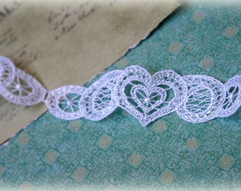 """Tresors  White  Venice Bridal Crafting Fabric Embroidered Heart Lace Trim LA-080 10% off """"SUMMER10"""" at checkout"""