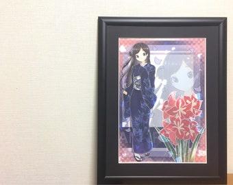 """Kimono girl illustration  """"Amaryllis"""" digital art Japanese manga"""