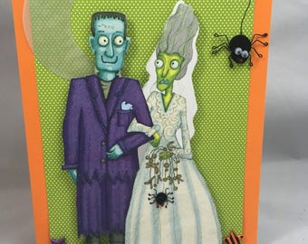 Halloween Greeting Card - Frankenstein and the Bride of Frankenstein Halloween Card