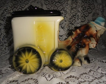 American Bisque Cookies and Milk Wagon Cookie Jar from Yesteryear
