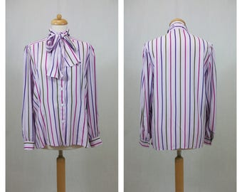 80s vintage blouse. Print blouse. Stripes print blouse. Long sleeve blouse. Lilac blouse. Violet shirt. Bow shirt lilac. Size M - L.