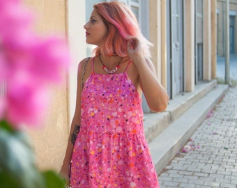 Pink Terrazzo babydoll style top or dress length