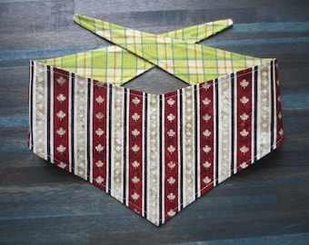 S-M reversible tie on dog bandana -  Canada Maple Leaf stripe/green plaid Kanine Kerchief