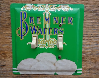 Bremner Unique Wall Decor Light Switch Cover Switchplate Double Plate Made From An Old Wafers Tin SP-0274