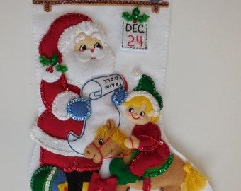 Finished Christmas Stocking - Santa's Workshop