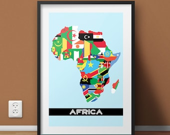 Africa Flag Map Art Print, Colorful Africa Poster, Housewarming Africa Poster, Africa Map Art, Personalized Africa Map Poster Decor