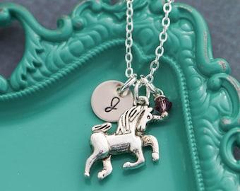 Unicorn Jewelry Party Unicorn Necklace • Girls Personalized Initial Unicorn Charm • Little Girls Birthday Gift • Unicorn Silver Magic Horse