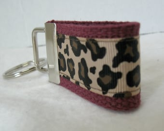 Mini Key Fob -Leopard Key Chain - MAROON - Animal Print Key Chain - Cheetah Zipper Pull -Maroon Cheetah Key Ring - Small Keychain