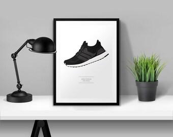 adidas Originals Ultra Boost Black Illustrated Poster Print | A6 A5 A4 A3