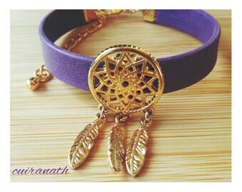 Women Purple Leather Bracelet passing dream catcher gold end-jewelry-women leather-cuff Bohemian style leather bracelet gift idea