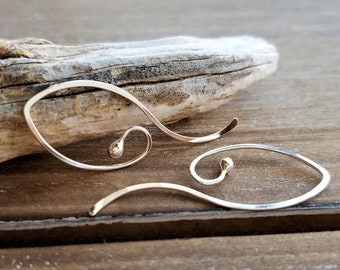 Long Earrings, Sterling Silver Hoops, Interchangeable Ear Wires, Handmade Elfin Swoops