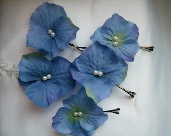 SALE Blue Hydrangea Hair Pins, Prom Flower Hair Accessories,Wedding Hairpins Ready to Ship